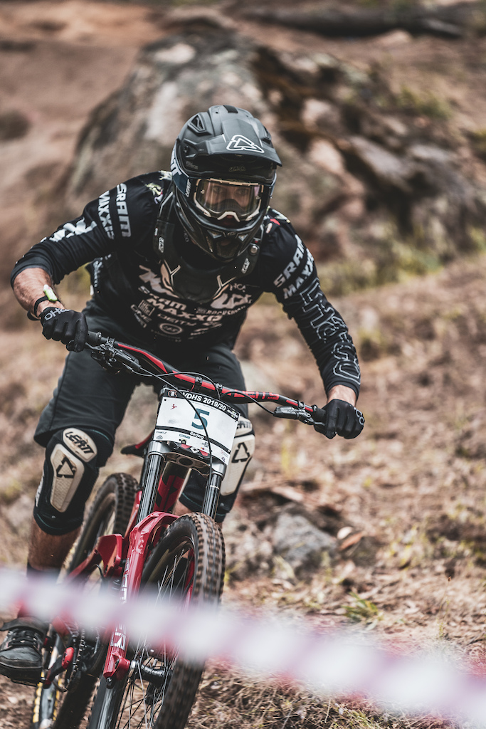 Jackson Frew charging for the top step at Barjarg for round one of the Victorian Downhill Series.