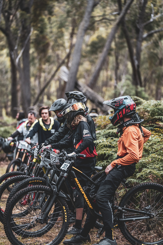 Mountain bikers in shuttle queue at barjarg